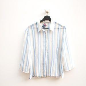 Mac & Jac | Sheer Striped Collar Button Down